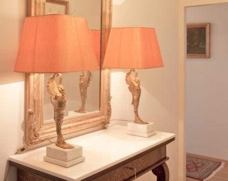 Hall table and lamps